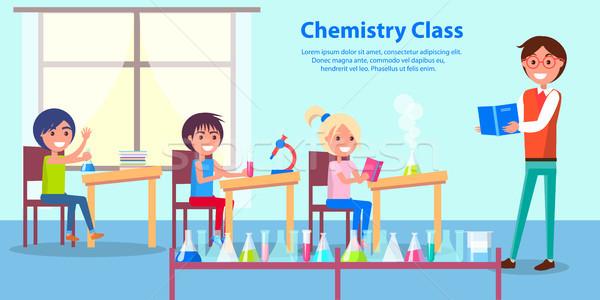Alegre ambiente química clase anunciante vector Foto stock © robuart