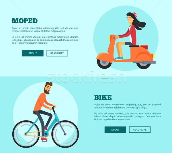 Moto comparación dos transporte hombre equitación Foto stock © robuart