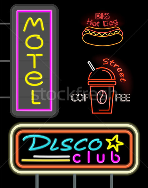 Motel disco club establecer neón signos Foto stock © robuart