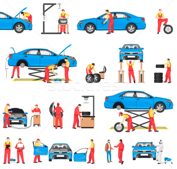 Car Repairement Service with Professional Workers Stock photo © robuart
