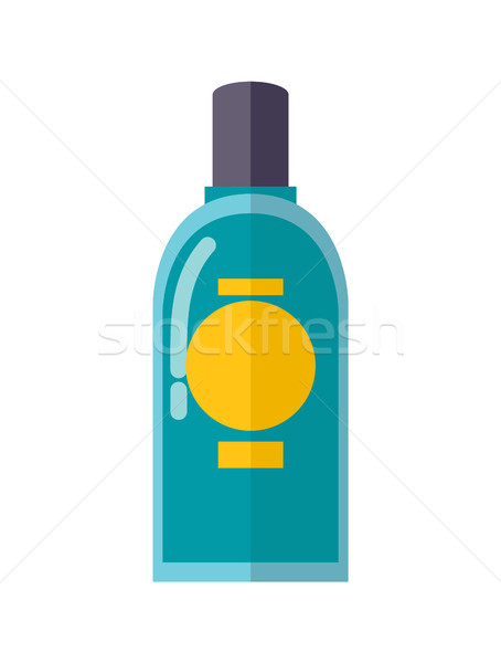 Transparent Plastic Bottle of Blue Mouth Rinse Stock photo © robuart
