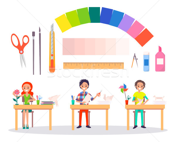 Origami Banner with People and Working Tools Stock photo © robuart