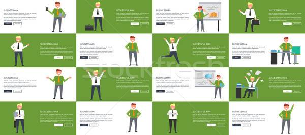 Businessman and Successful Man at Work Web Banners. Stock photo © robuart
