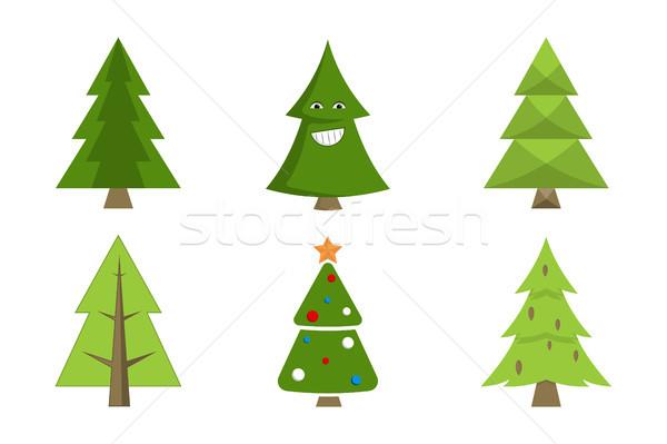 Weihnachtsbaum Sammlung Fichte Symbole Dekor dekorativ Stock foto © robuart