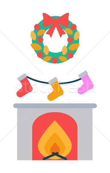 Lareira meias enforcamento acima decoração coroa Foto stock © robuart