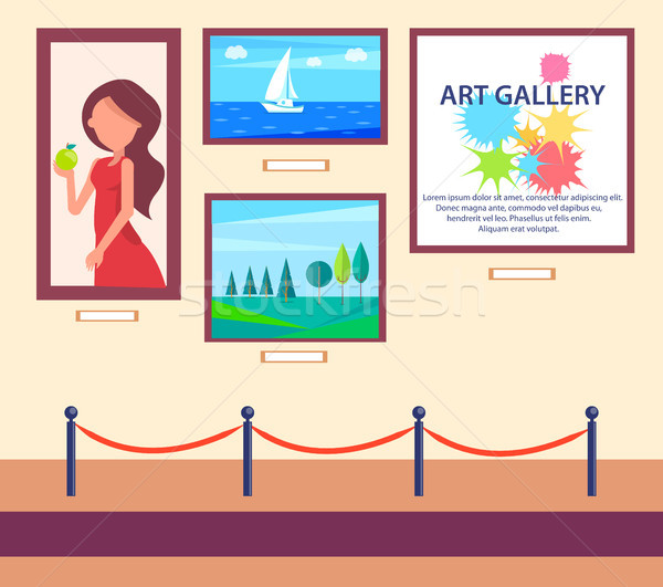 Art Gallery Exhibition with Pictures Hang on Wall Stock photo © robuart