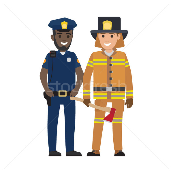 Set of Black Policeman and Firefighter with Ax Stock photo © robuart