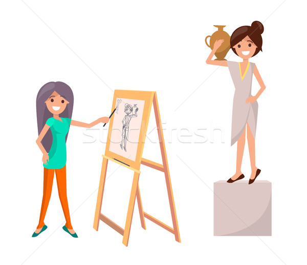 Girl Drawing Still Life Picture of Woman with Vase Stock photo © robuart