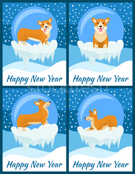 Happy new year félicitations cute quatre lumineuses Photo stock © robuart