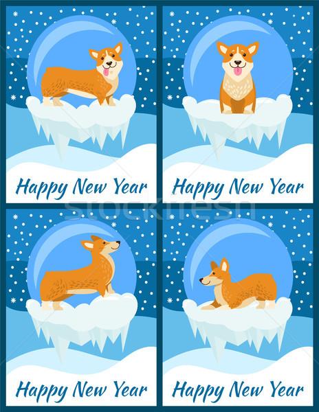 Feliz ano novo parabéns bonitinho conjunto quatro brilhante Foto stock © robuart