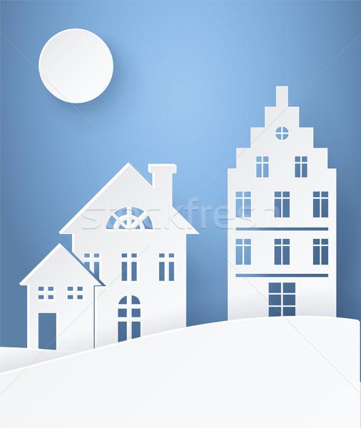 Winter Landscape Paper Silhouettes Light Postcard Stock photo © robuart