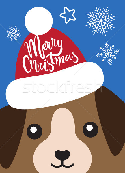 Merry Christmas Cover with Dog in Santa Claus Hat Stock photo © robuart