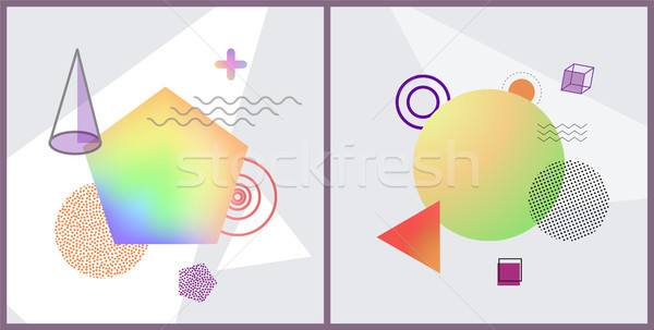 Abstraction Collection Posters Vector Illustration Stock photo © robuart