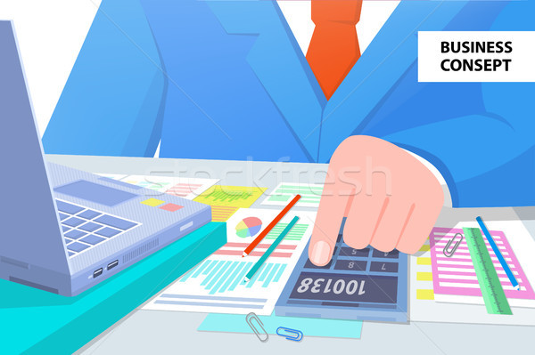 Business Concept Man at Work Vector Illustration Stock photo © robuart