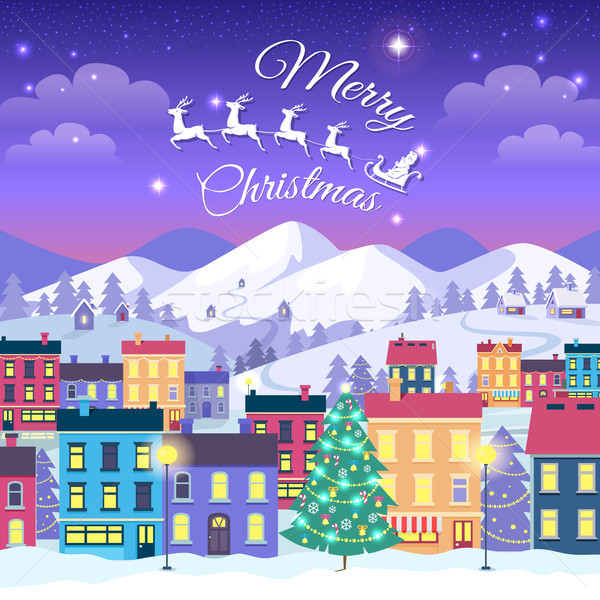 Stock photo: Merry Christmas and Happy New Year, Town in Winter