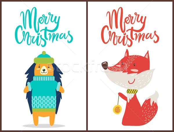 Vidám karácsony sündisznó róka bannerek visel Stock fotó © robuart