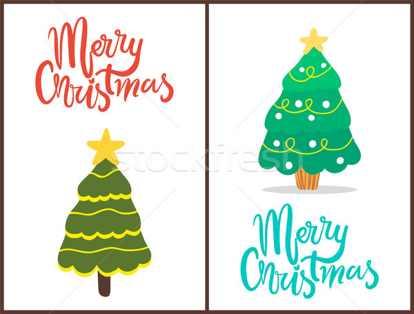 Merry Christmas Trees Set Vector Illustration Stock photo © robuart