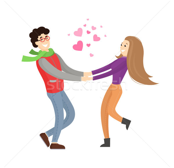 Cute Lovers Merrily Hold Each Others Stretch Hands Stock photo © robuart