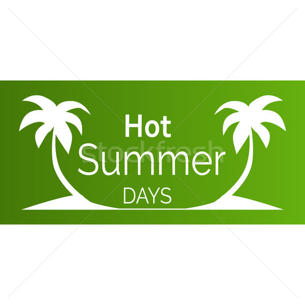 Hot Summer Days Poster with White Palm Trees Stock photo © robuart
