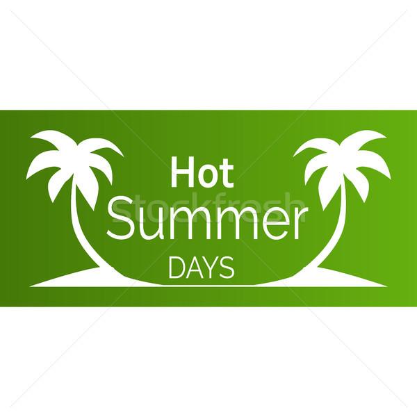Caliente día de verano anunciante blanco palmeras siluetas Foto stock © robuart