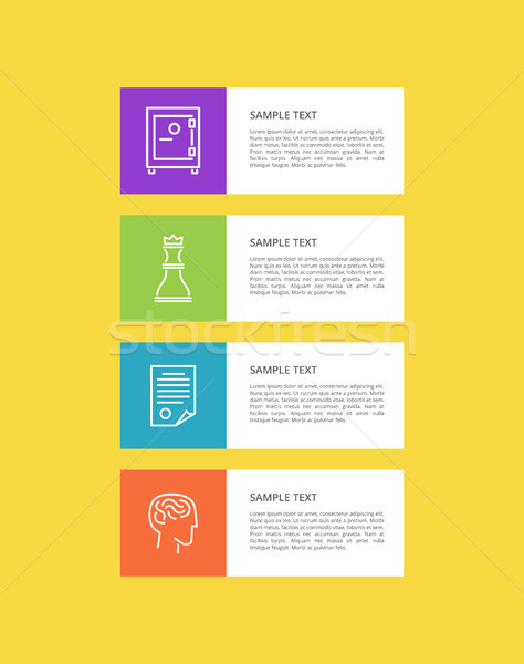 Varied Icons Set isolated on Yellow, Colorful Card Stock photo © robuart