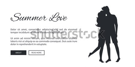 Summer Love Web Banner with Kissing Couple Stock photo © robuart