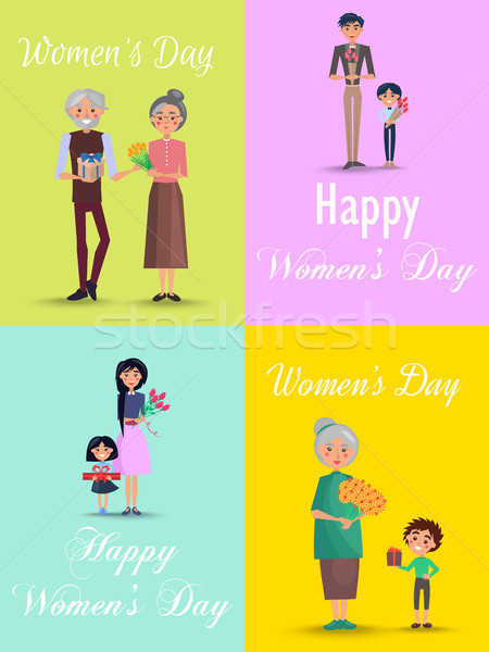 Congratulations from Men to Womens Day Flat Design Stock photo © robuart