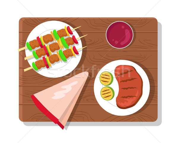 Food Picnic Collection Dishes Vector Illustration Stock photo © robuart
