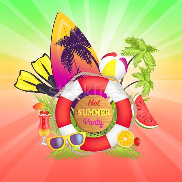 Caliente verano fiesta banner texto tabla de surf Foto stock © robuart