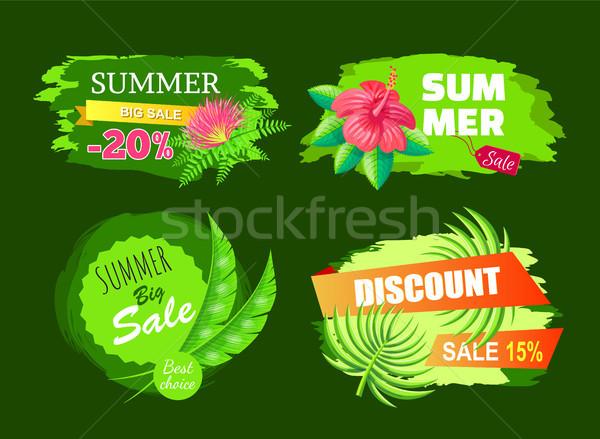 Nyár vásár legjobb választás címkék árengedmény embléma Stock fotó © robuart