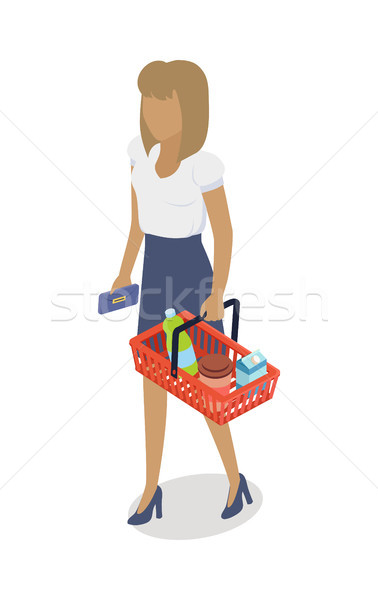 Kobieta koszyka zakupu codziennie produktów wektora Zdjęcia stock © robuart