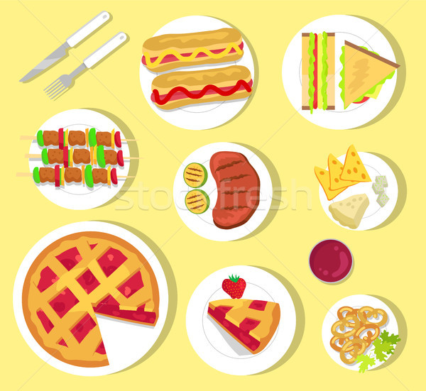 Delicious Fastfood for Summer Picnic with Cutlery Stock photo © robuart