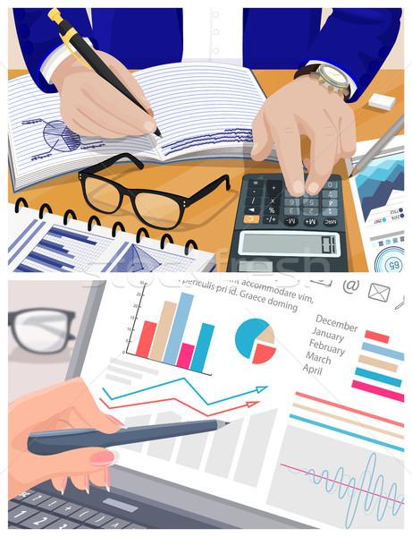 Contador calculadora gráficos traçar dados Foto stock © robuart