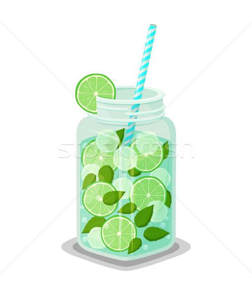 Mug with Refreshing Drink Mojito Cocktail Straw Stock photo © robuart
