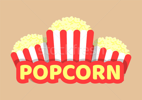 Popcorn Vector Illustration with Striped Food Pack Stock photo © robuart