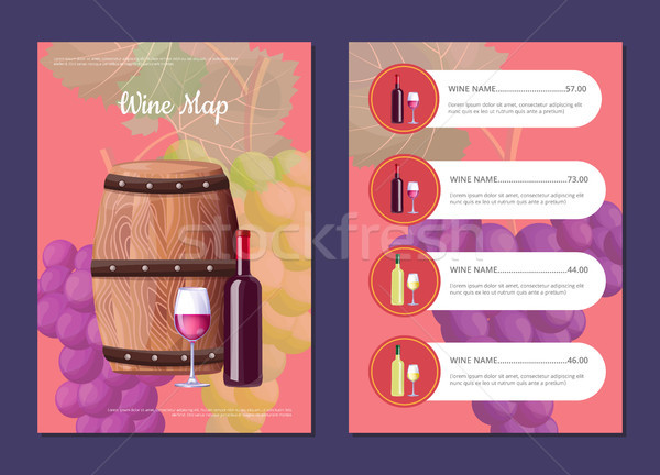 Wine Map Cover and Prices with Barrel and Bottle Stock photo © robuart