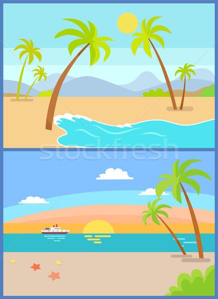 Coastline Seaview Poster Tropical Beach, Sea Sand Stock photo © robuart