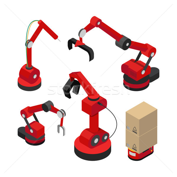 Stock photo: Robots Set with Hydraulic Mechanisms Vector Banner