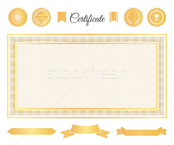 Officieel certificaat goud decoratief communie ingesteld Stockfoto © robuart
