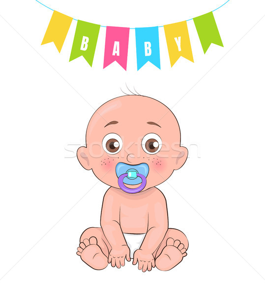 Baby Boy Poster of Newborn Infant Pacifier Vector Stock photo © robuart