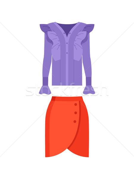 美しい ライラック シャツ 赤 スカート 色 ストックフォト © robuart