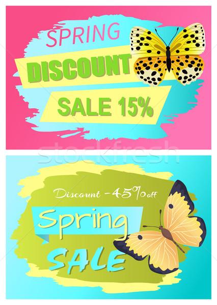 Voorjaar korting verkoop 15 af ingesteld Stockfoto © robuart