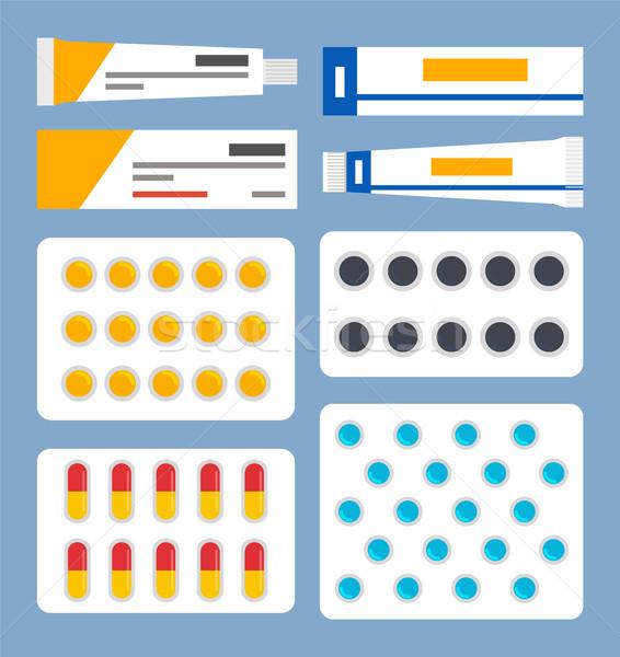 Csövek kenőcs címkék hólyag tele kapszula Stock fotó © robuart