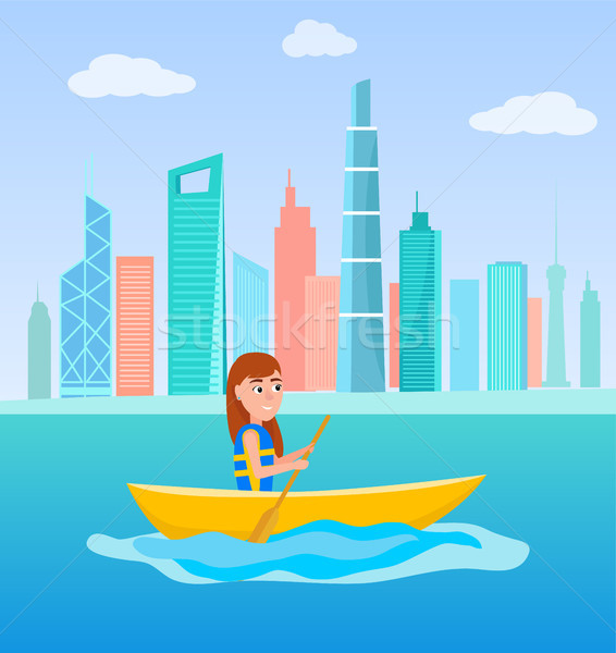 Kayaking Girl Sitting in Boat Holding Oar Vector Stock photo © robuart