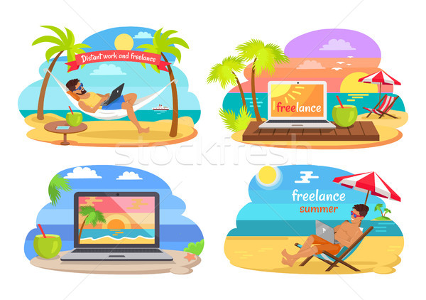 Distant Work and Freelance Vector Illustration Stock photo © robuart