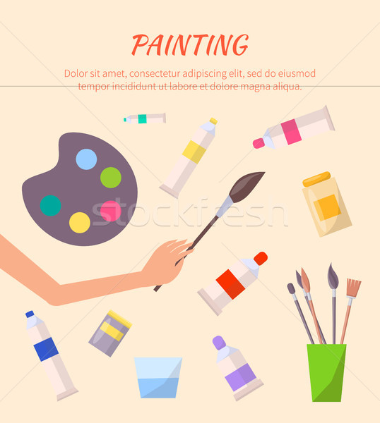 Painting Poster with Watercolor Palette with Tubes Stock photo © robuart