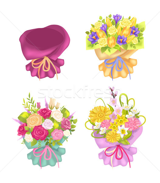 Four Beautiful Packing and Cute Flowers Color Card Stock photo © robuart