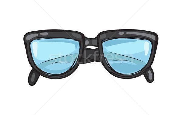 Elegante preto óculos quadro ilustração isolado Foto stock © robuart