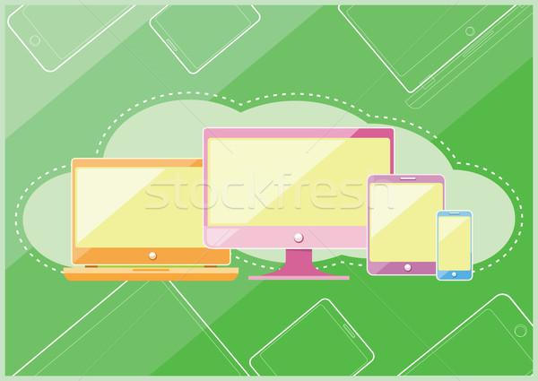 Foto stock: Establecer · pantalla · ordenador · portátil · realista · portátil