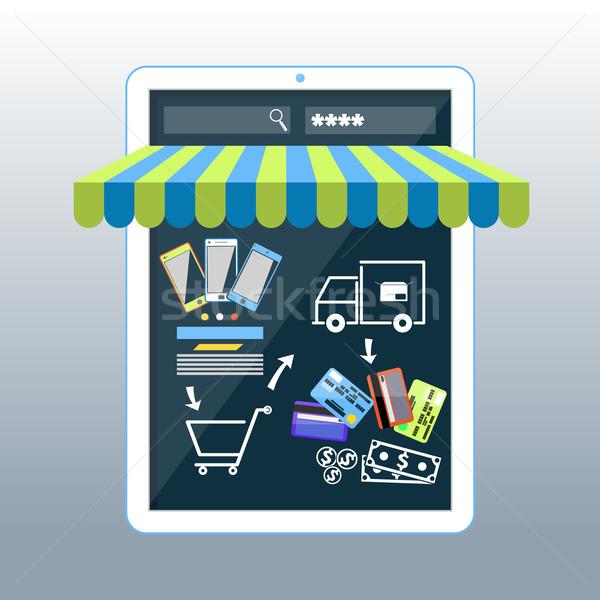 Stock fotó: Internetes · vásárlás · okostelefon · vásárol · termékek · vonal · bolt